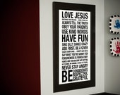 Family Rules Subway Art // White and Black // 20x30 // Printable PDF