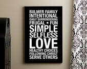 Family Mission Statement CUSTOM Subway Art Print // Black and White // 20x30