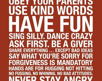 Family Rules Subway Art  // Red and White // 20x30 // Printable PDF