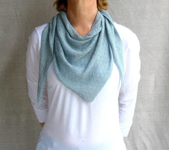 Linen Scarf Shawlette Knit in Glacier Blue