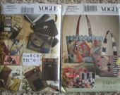 Handbag and Accessories Patterns by Vogue - New and UnCut Patterns V8407 and V8273
