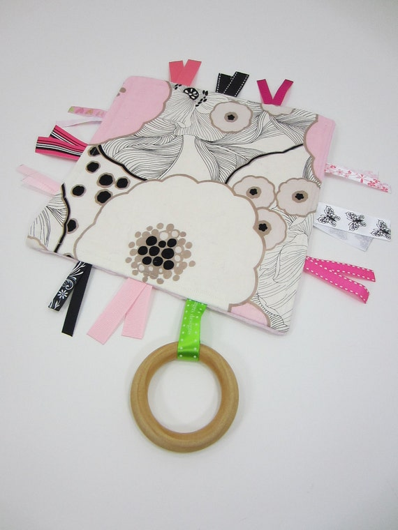 Custom Order for Kate - 2 Tiny Tag Teething Toys,  Mod Black,  White and Pink Oriental Poppy & Owls