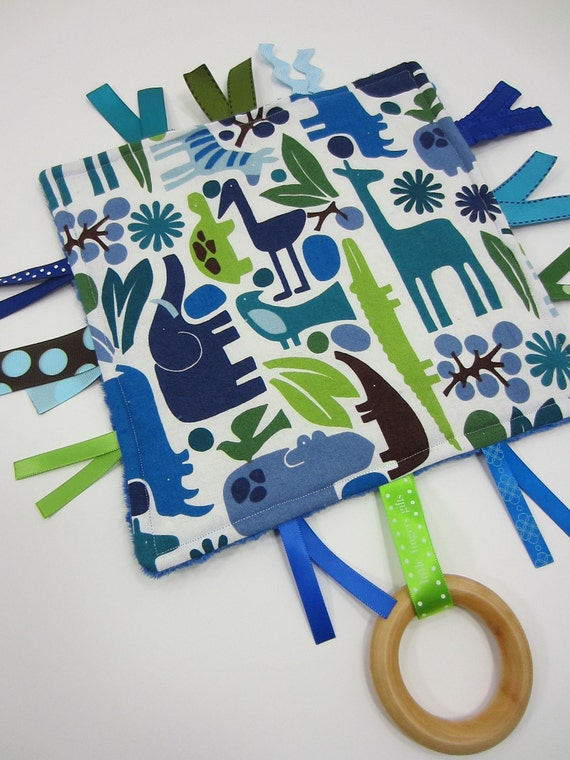 "Tiny Tag Birch Teething Toy, Alexander Henry's ""2-D Zoo"" with blue azure minky dot"