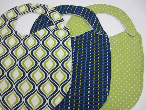 SALE - Bibs, Set of Three, Modern and Masculine Greens and Blues