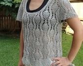 Crochet beautiflu grey Top for summer ready to ship