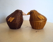 Vintage Baby Chicks Miniature Baskets - Set of 2