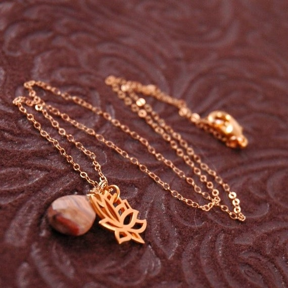 Golden Zen necklace with Lotus Flower charm and Crazy Lace Agate briolette