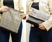 SALE - Large Zipper clutch - Light plaid twill iPad case, winter fabric iPad sleeve, clutch