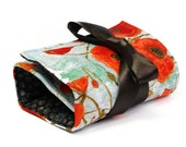 Make up bag organizer in Poppies flower, spring best seller Makeup roll, Cosmetic pouch