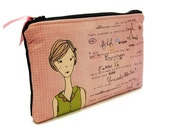 Makeup Bag pink girl, zippered pouch, cosmetics bag, unique design digital art, fabric printing