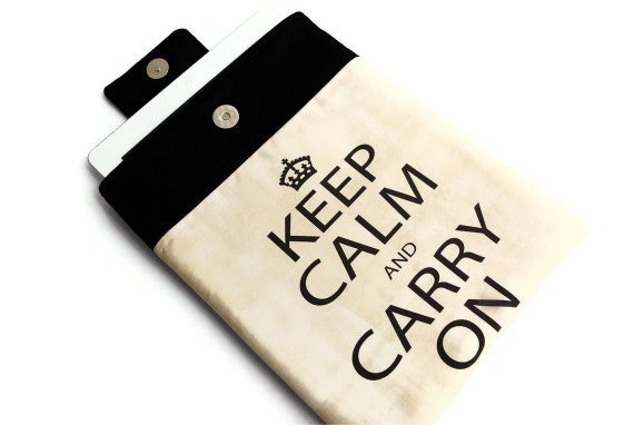 Keep Calm tablet Case, Padded iPad Sleeve, iPad Cover, Unique Design fabric printing
