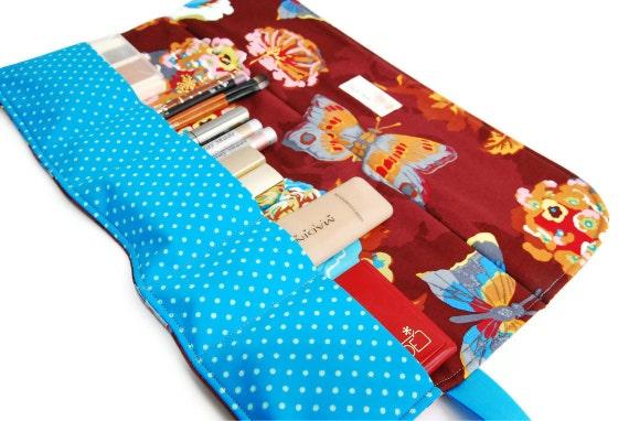 Cosmetics / Makeup roll - Bourdeaux flower, makeup organizer bag, five pockets, Cosmetics holder