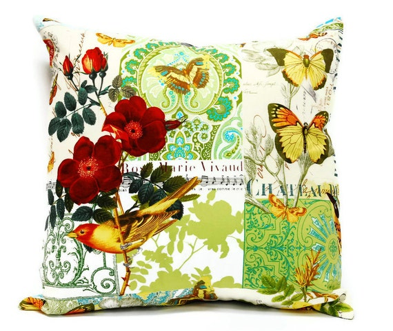 """Birds and Flowers - Decorative Pillow cover, 18"""" x 18"""" cushion cover, throw pillow, envelope closure"""