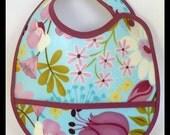 Floral Waterproof Children's Bib With Pocket