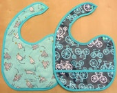 Waterproof Laminated Cotton and Flannel Bib with Pocket