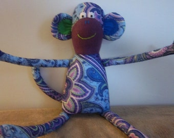 Paisley Print Stuffed Felt Monkey-with purple, green & blue