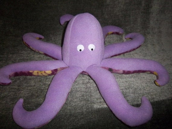 Purple Plush Octopus, with purple floral underside