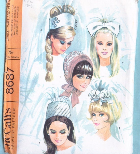 Vintage Sewing Pattern - Bridal Wedding Cap or Veil - McCall's 1960's