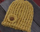 SALE - 0-6 Months, Gold Hand Knitted Hat with Flower and Handmade Wood Button