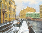 Winter in St. Petersburg Russian original oil painting by Alex Konin