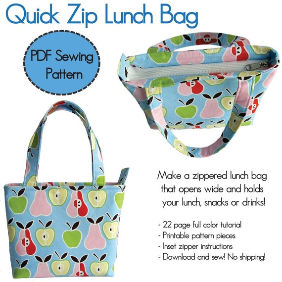 Quick Zip Lunch Bag PDF Sewing Pattern