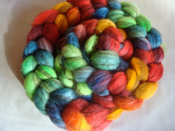 Hand Painted Mixed BFL Roving. 4 Ounces for spinning or felting