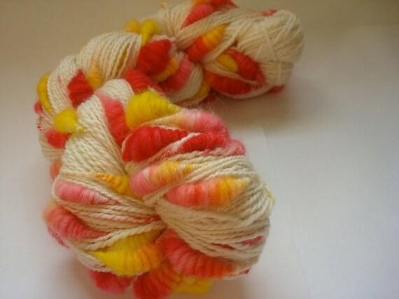 Handspun, hand dyed, core spun coiled beehive yarn, 100% Merino, 236 yards, super bulky weight, 3.25 ounces.