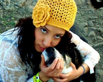 Crochet Mesh Hat with Flower in Mustard Yellow Cotton - Yellow Beanie - Open Weave Crochet Hat