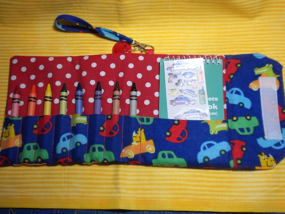 ANIMAL AUTOS - Travel Crayon Wallet Roll for a Boy - Last One CLEARANCE