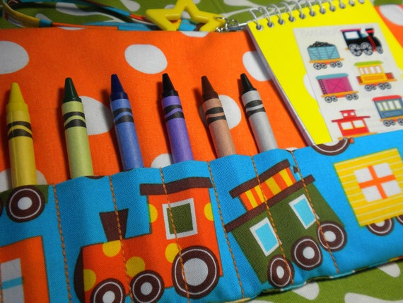 CHOO CHOO TRAIN - Travel Crayon Wallet Roll - Add Your Child's Name
