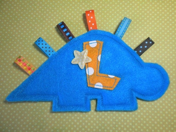 DINOSAUR Crinkle Tag Toy For Your Baby Boy - You Choose Color & Letter