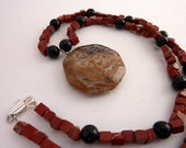 Red Jasper Obsidian Necklace - 18 Inch -  Painted Landscapes