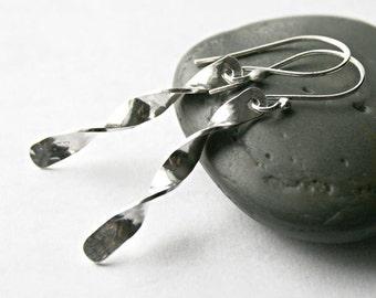 Spiral Dangle Earrings - Long Sterling Silver Earrings - Twisted Swirl Style Modern