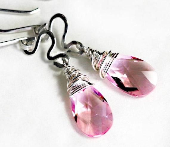 ON SALE Light Rose Swarovski Teardrop and Sterling Earrings