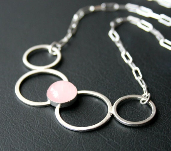Rose Quartz and Round Circles Sterling Silver Pendant Necklace