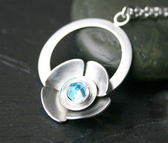 "Pendant Necklace Swiss Blue Topaz Gemstone and Sterling Silver ""Flower Pendant Necklace"" Floral Art Jewelry"