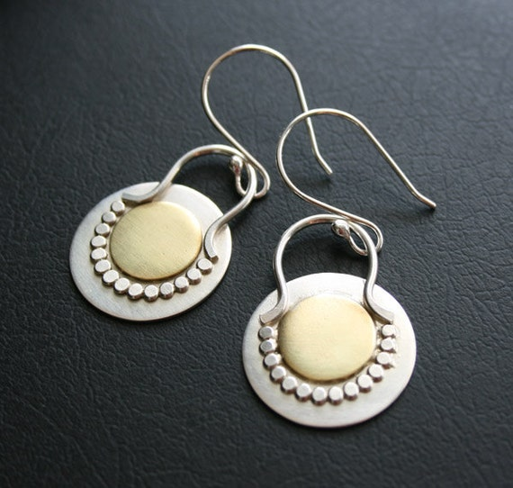 Mixed Metal Earrings - Modern Disc Earrings in Sterling Silver with Brass Accent, Long Dangle Chic and Contemporary Style