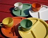 Retro, 1960s, Picnic, 4 Plates, 4 cups, Colorful, Hard Plastic, Gits Ware, 8 items