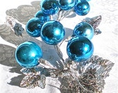 "Christmas, Mercury Glass, Aqua, Vintage, Home Decor, Decoration, Grapes, Silver, Leaves, Glitter, Large, 15"" long, 1940's, 1950s"