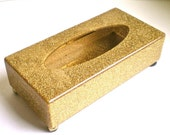 Hollywood Regency, Box, Gold, Retro, Kleenex Box,  Home Decor, Vintage, Glitter, Vintage Plastic, Hinged top,1960s, 1970's Kitch