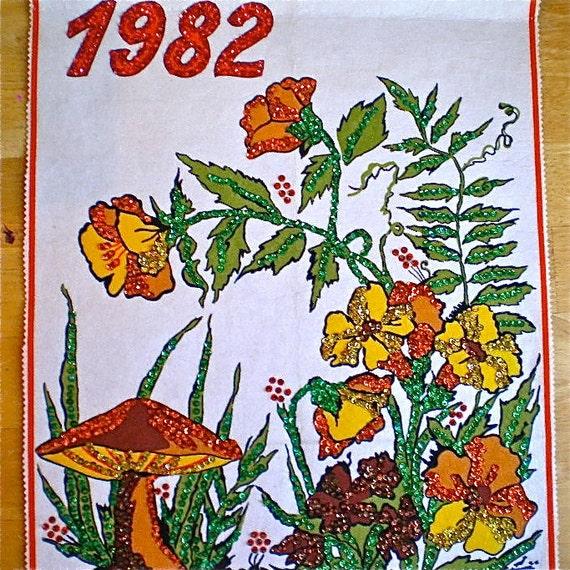Mushrooms, Orange, Yellow, Vintage Calendar, Home Decor, Wall Hanging, Calendar, 1982, Kitsch, Retro, Hand Made, Felt, Sequins