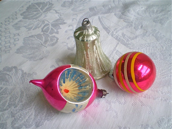 Christmas Decorations, Mercury Glass, Vintage, Pink, Indent, Striped, Bell, Shiny Brite, Lot of 3