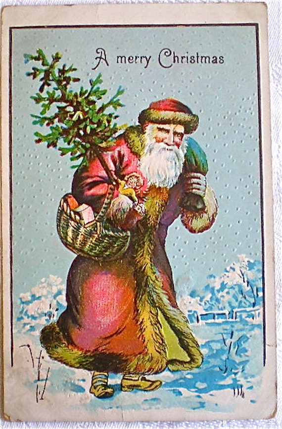 Christmas, Vintage Postcards, Santa, Maroon Coat, Yellow Trim, Antique, Christmas, Germany