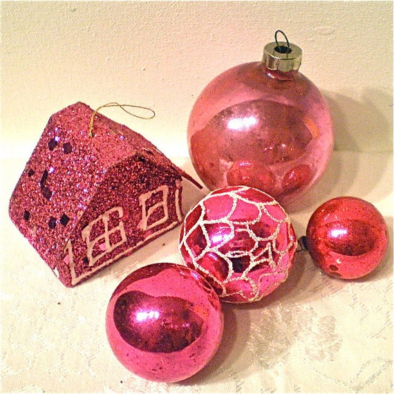 Christmas, Pink, Ornaments, Mercury Glass, House, Mica Glitter, Vintage,Poland, Japan, USA, Collection of 5, 1950s, 1960s
