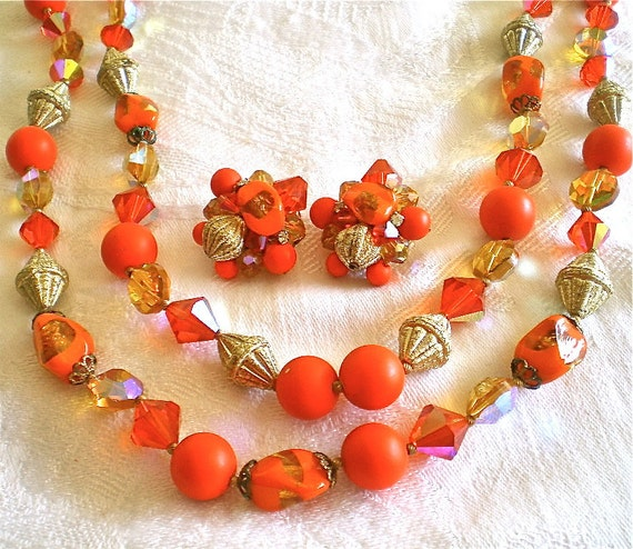 Orange, Necklace, Earrings, Madmen, Vintage, Jewelry, Orange, Spring, Summer, Fashion, Retro, 3 items, 1960s