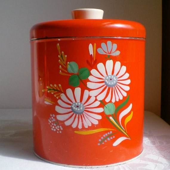 """Ransburg, Red, Canister, Flowers, Flour Canister, Farmhouse, Covered Tin, Hand painted, Vintage, Kitchen, 1950s,1960s, 7 1/2"""" tall"""