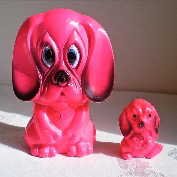 Dogs, Pink, Retro, Puppies,  Big Eyes, Vintage,  Japan, Kitsch, Set of 2