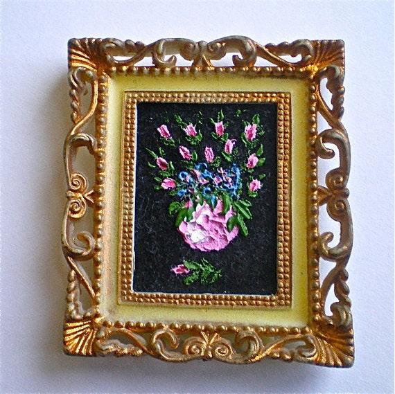 """Miniature, Vintage Painting, Roses, Black Velvet Painting, Framed Flower Painting, Plastic frame,  Hong Kong, 2 1/4"""" x 2 5/8"""""""