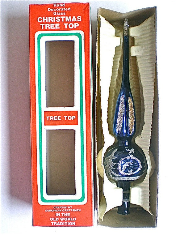 Christmas, Mercury Glass, Tree Topper, Mica glitter, Original Box, Triple Indent, Blue, Home Decor, 1960s