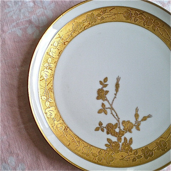 Vintage Plates, Roses, Haviland, Rose Plate, Gold, France, Whites Art Company,Hand Painted, 1920's , 1930's, 1 plate